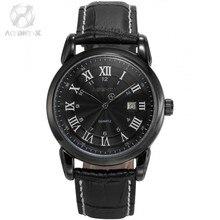 Luxury AGENTX Black Roman Arabic Analog Date Display Leather Band Japan Quartz Movement Mens Casual Wrist