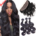 Brazilian Body Wave 4bundles With Lace Front 7A Grade Brazilian Virgin Hair Body Wave Lace Frontal Closure With Human Hair Weave