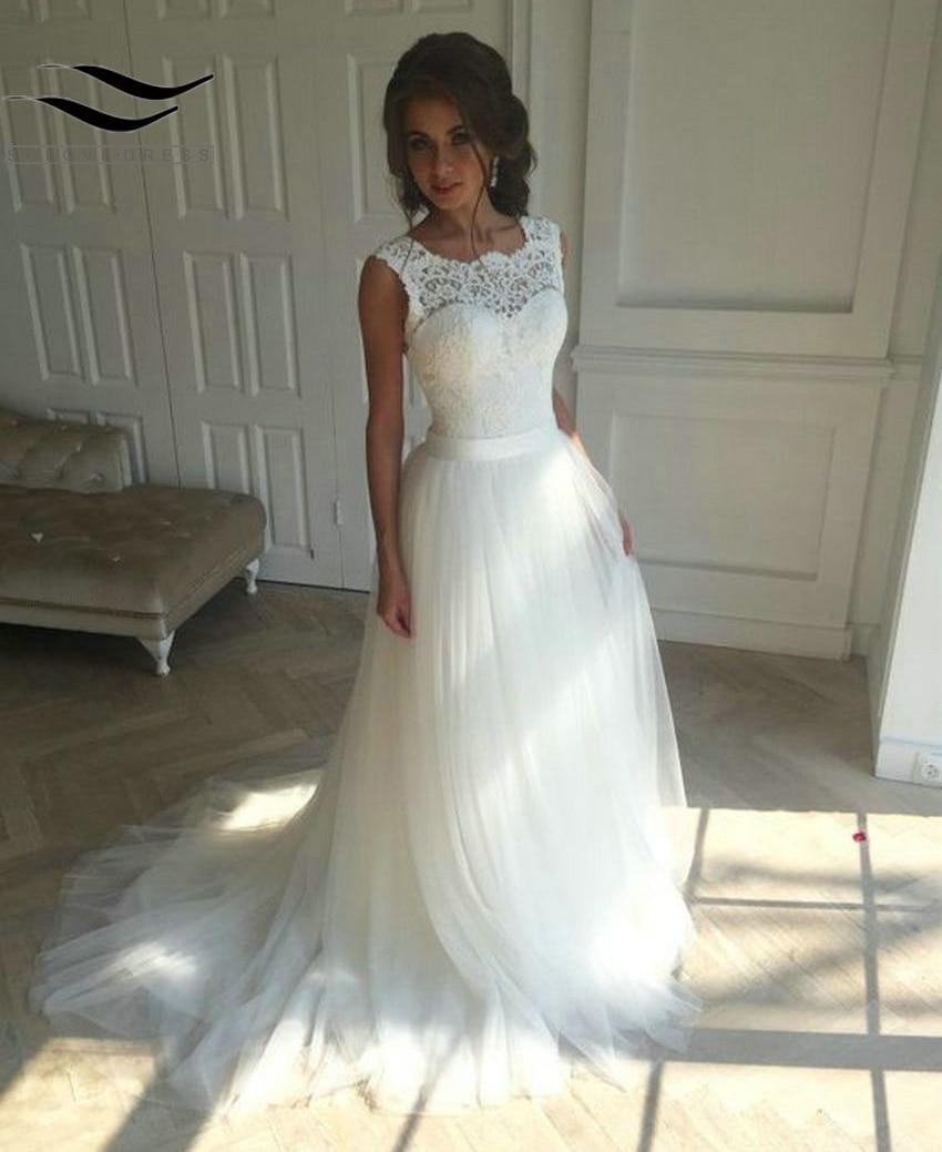 Solovedress A Line Lace Beach Wedding Dress 2018 Scoop Neck White Bridal Gown Tulle Skirt Chapel Train vestido de noiva SLD-228 1