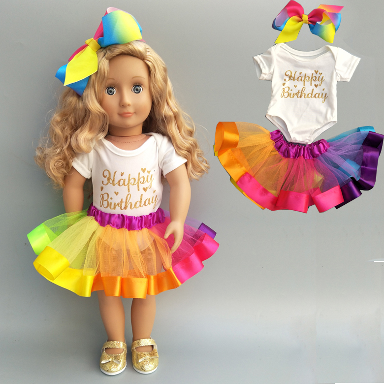 18 Inch Girl Doll Clothes For Baby Doll Rainbow Tutu Skirt For 18 Inch American Doll Colorful Dress Accessories