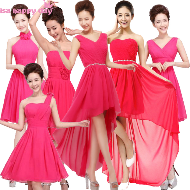 Vestidos Formales Newest Hot Pink Bridesmaids Dresses Gowns Clothes Of Bridesmaid Fuchsia Brides Maid Dress Robe De Soiree 2019