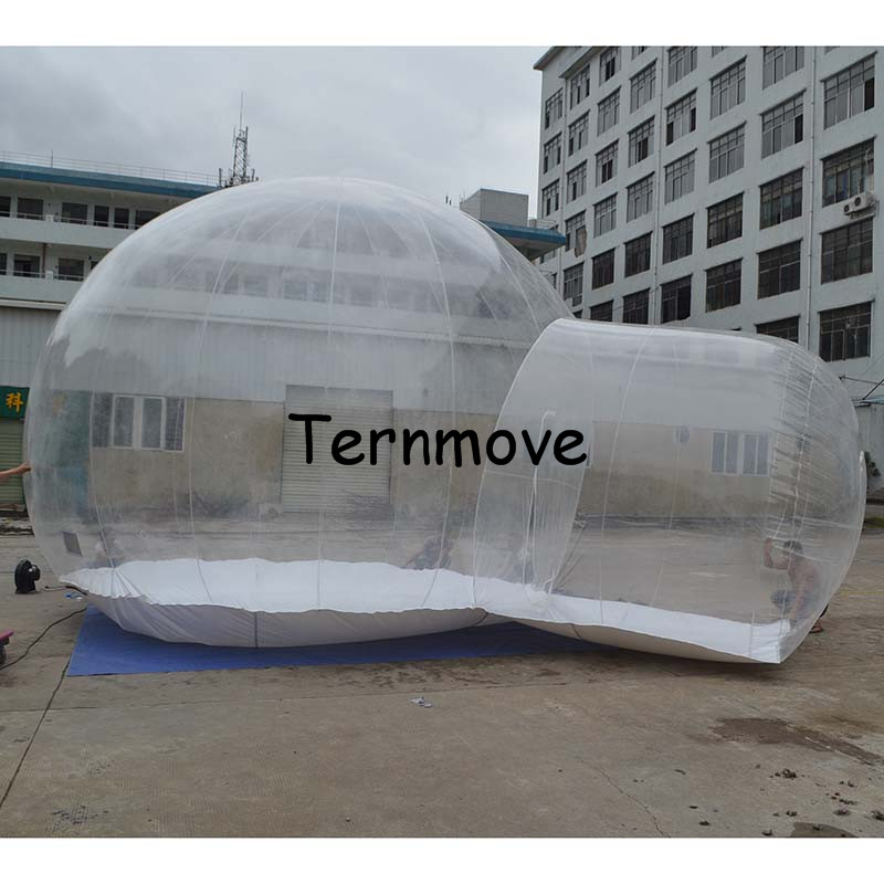 inflatable bubble camping tent,inflatable outdoor advertising tents,0.45mm pvc 5m diameter room with 2m corridor Trade Show Tent trade show exhibition tent commercial advertising inflatable tent house for event china factory outdoor inflatable igloo tent