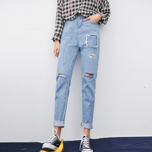Alta Cintura Jeans Mujer 2018 Corea Moda Pintados A Mano Bordado Pantalones Vaqueros Jeans Feminino 3084 Jeans Feminino Ripped Holeswaist Jeans Women Aliexpress