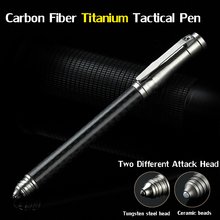 EDC Camp Tools Carbon Fiber Titanium Self Defense Personal Safety Tactical Pen Pencil With Writing Function Tungsten Steel Head цена 2017