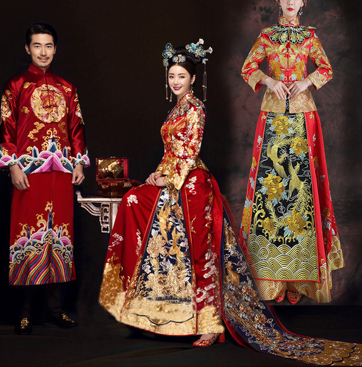 Bride's Long Chinese Wedding Dress Cheongsam Qipao Retro Long Flower Phoenix Printing Gown Chinese Couple Wedding Outfit Groom