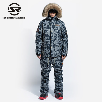 StormRunner Brand Ski Suit Men Snowboarding jackets+Pants Warm 2018 NEW Snow Coat Breathable Colorful Camouflage Male Ski Sets 2018 new lover men and women windproof waterproof thermal male snow pants sets skiing and snowboarding ski suit men jackets