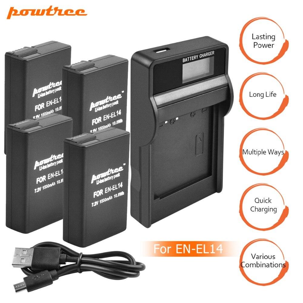 4 paquets EN-EL14 EN-EL14a ENEL14 EL14 Batterie + Chargeur LCD pour Nikon P7800, P7100, D3400, D5500, D5300, D5200, D3200, D3300, D5100, D3 L10