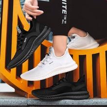 2019 Summer Men Casual Shoes Light Weight Mesh Sneakers Soft Walking Run Flyknit Flats Increase