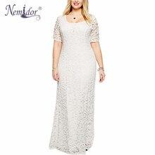Nemidor حار مبيعات النساء أنيقة س الرقبة الطرف حجم كبير 7XL 8XL 9XL فستان الدانتيل خمر قصيرة الأكمام ميدي فستان ماكسي طويل غير رسمي