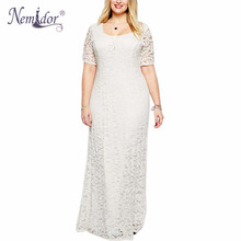Nemidor Hot Sales Women Elegant O neck Party Plus Size 7XL 8XL 9XL Lace Dress Vintage