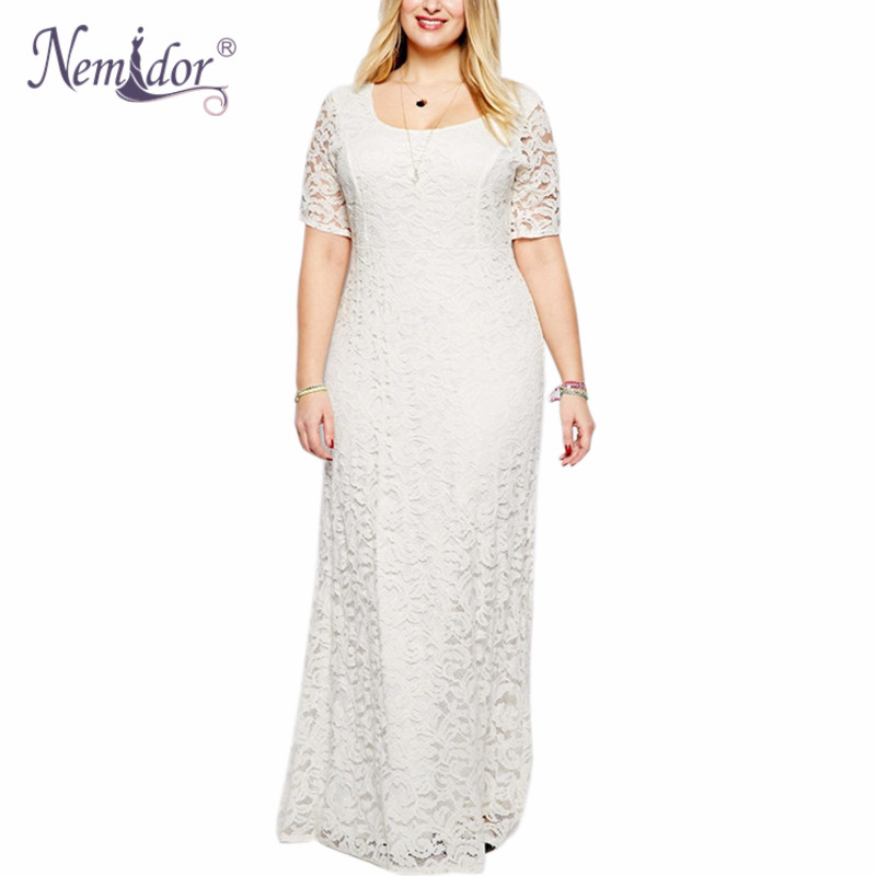 Nemidor Hot Sales <font><b>Women</b></font> Elegant O-neck Party <font><b>Plus</b></font> <font><b>Size</b></font> <font><b>7XL</b></font> 8XL 9XL Lace Dress Vintage Short Sleeve Midi Casual Long Maxi Dress image