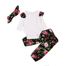 New Babies Girl 3 pcs Clothing Set Cute Newborn Baby Girls Cotton Bodysuit Tops Floral Pants Outfits Clothes 2019