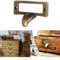 55mm Vintage Label File Name Card Holder Cavity Type cabinet pulls handle bronze Drawer Pull label holders Label Frames