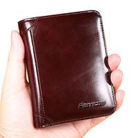 100% Cow Genuine Leather Men Short Wallets Real Leather Male Luxury Brand New Fashion Clutch Boy Gift Cash Purse Card Holder