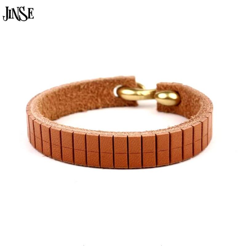 16cm*1cm Women Mens Bracelets Copper Brown Leather Bracelet Wristband Bangle Punk Style Fashion Jewelry S Shape Connect Clasp