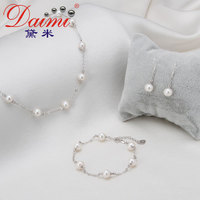 DAIMI Top Quality Pearl Jewelry Set 7 8 mm Natural Freshwater Pearl Jewelry For Women