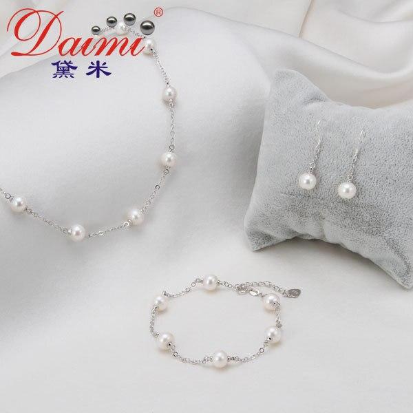 DAIMI Top qualité perle bijoux ensemble 7-8mm naturel perle d'eau douce bijoux pour les femmes