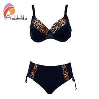 Andzhelika Bikinis Women Swimsuit Newest Sexy Leopard Patchwark Bikinis Set Plus Size Swimwear Maillot De Bain