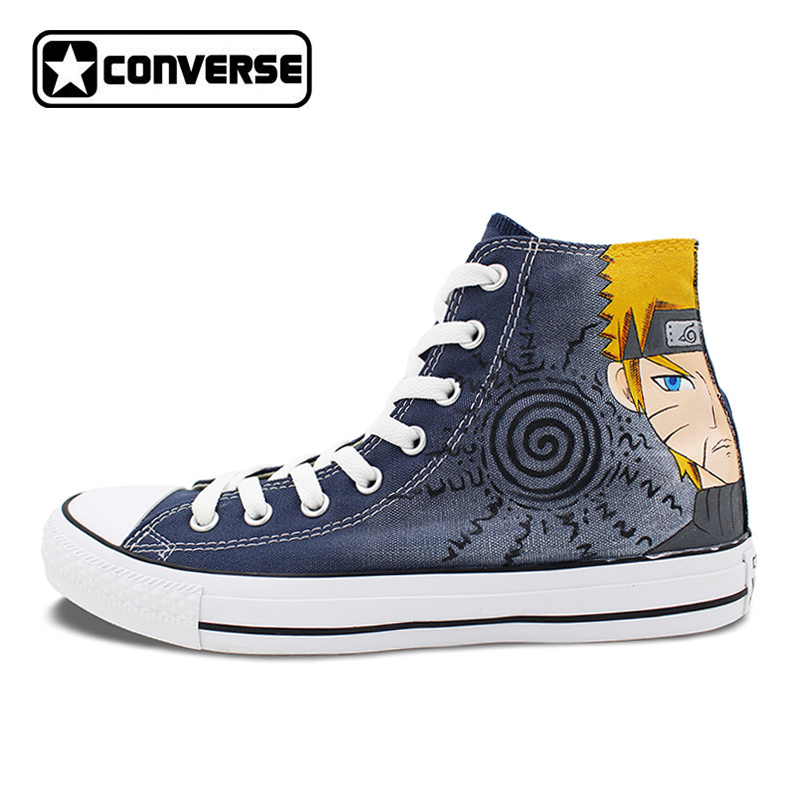 High Top Sneakers Men Women Converse All Star Anime font b Naruto b font Uzumaki Gaara
