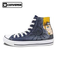 Высокие кроссовки Для мужчин Для женщин Converse All Star Аниме Наруто Узумаки Гаара Дизайн черный ручная роспись обувь мужские и женские Косплэй подарки