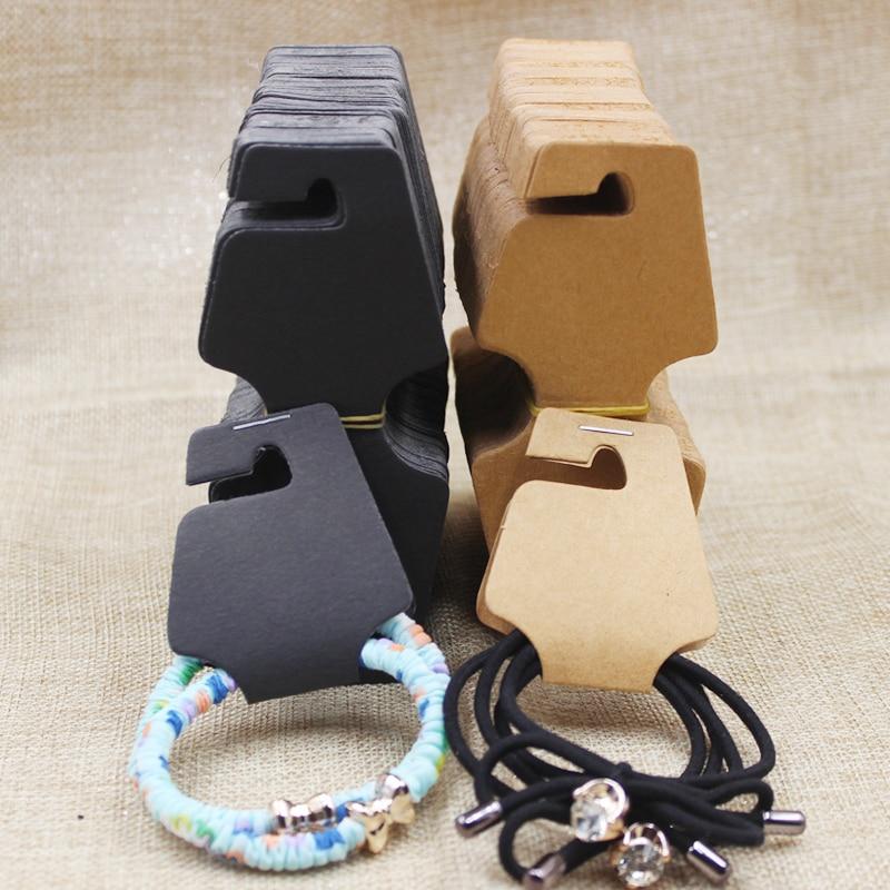 2017 DIY Necklace Card Kraft /Black 12.5x5cm DIY Bracelet Display Card Hair Clip Card 1lot =200 pcs Hair Clip Card