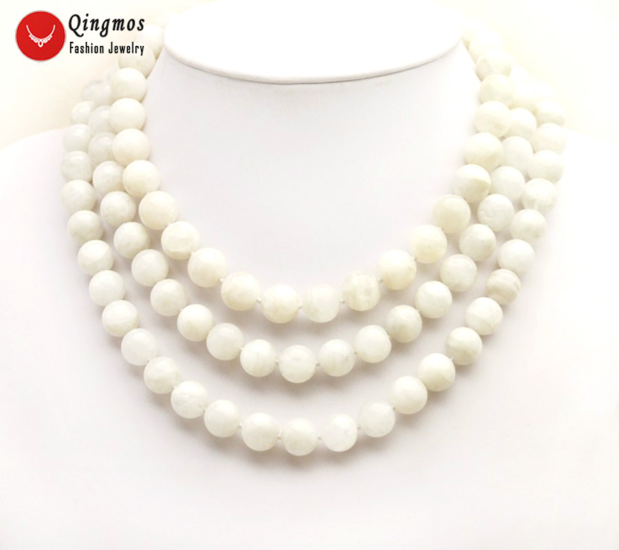 Qingmos Natural Moonstone Necklace for Women with 3 Strands 12mm White Round Moonstone Stone Necklace Jewelry Chokers nec6501