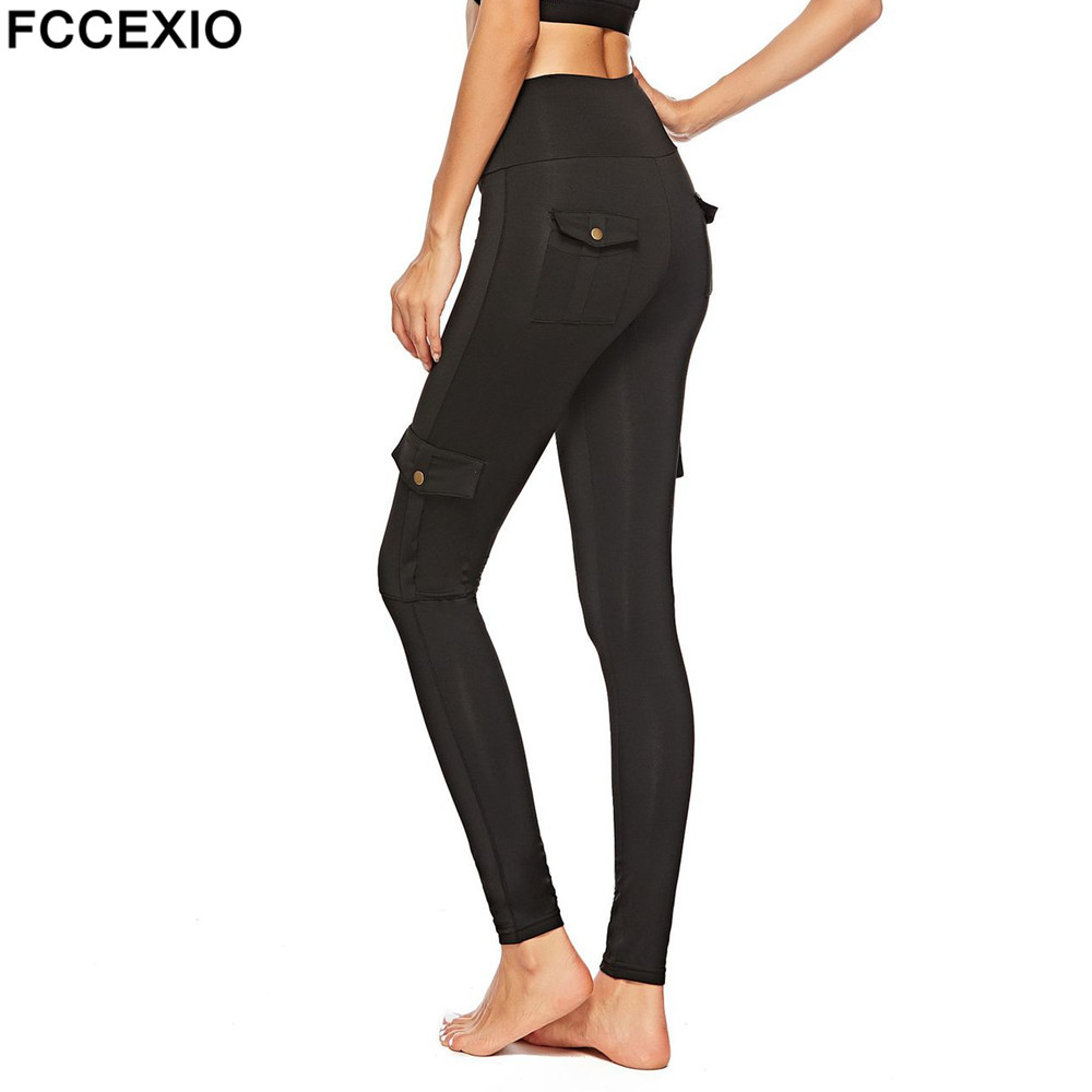 Fccexio High Waist Black Pocket Women Leggings Fashion Workout Push Up Trousers Slim Breathable Fitness Leggings