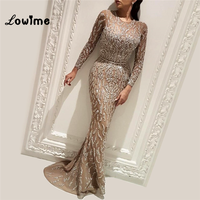 Mermaid Evening Dress Banquet Luxury Long Sleeves Sequined Fishtail Party Formal Gowns 2018 New Arrival Long Prom Dresses
