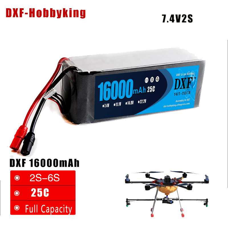 2018 DXF 16000mAh 25C Lipo Battery 2S 7.4v 3S 11.1v 4S 14.8v 6S 22.1v for Quadcopter UAV Drones RC Helicopter Drone RC Car