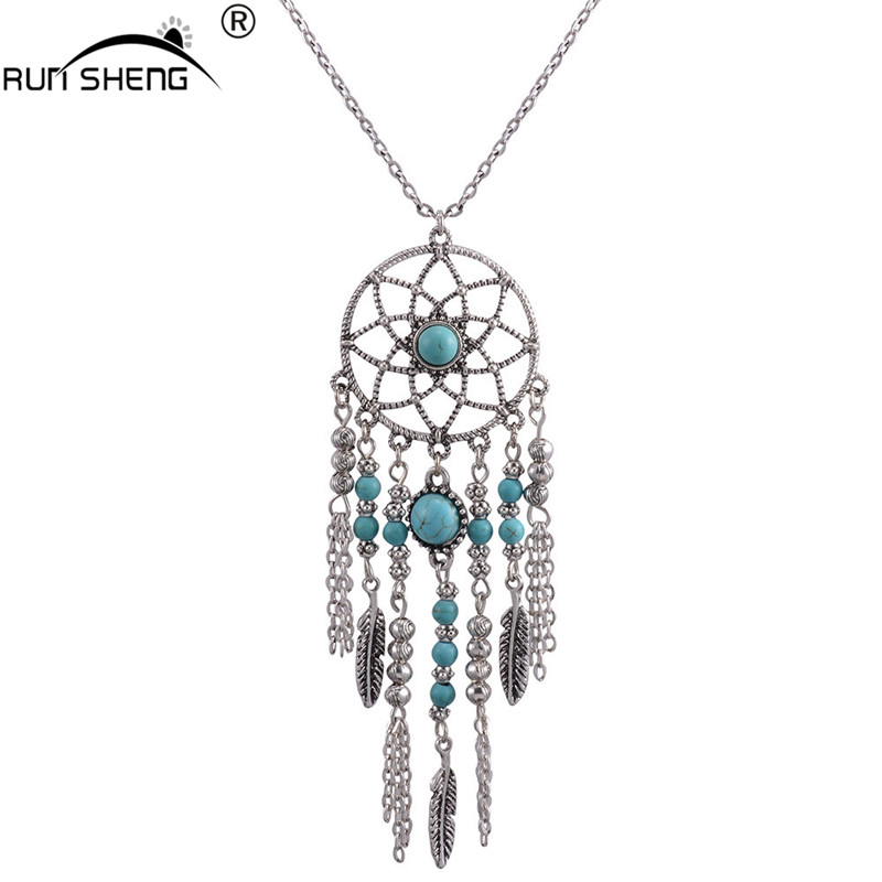 2016 Hot Sell Fashion Bohemia Style Feather Long Chain Vintage Tassel Dream Catcher Necklaces & Pendants For Women