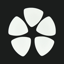 Lots of 100 pcs Rounded Triangle Big Size Medium 0.71mm Celluloid Guitar Picks Solid White