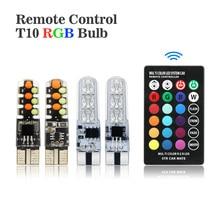 ANBLUB светодиодный W5W T10 RGB габаритный Светильник Универсальный 12 В COB RGBW Автомобильная атмосферная лампа с пультом дистанционного управления