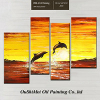 Free Shipping Hand-painted High Quality Abstract Ocean Landscape Canvas Painting For Decorative Handmade Dolphin Oil Painting