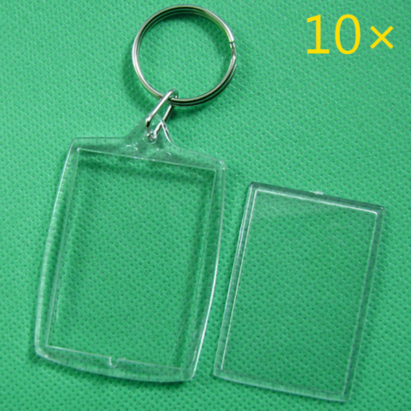 10 Pcs Transparent Blank Photo Picture Frame Key Ring Split Ring 32x46mm Lockets