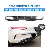 Carbon fiber Rear Bumper Exhaust Diffuser Lip for Mercedes Benz W205 C205 C63 AMG Coupe 2 Door Only 2015 2017 Convertible