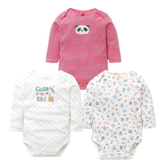 3 pçs/lote Bodysuits Do Bebê do Outono Roupa do Menino Da Menina Do Bebê da Qualidade Superior 100% Algodão de Manga Longa Underwear Bebê Infantil Macacão 0 -24 M