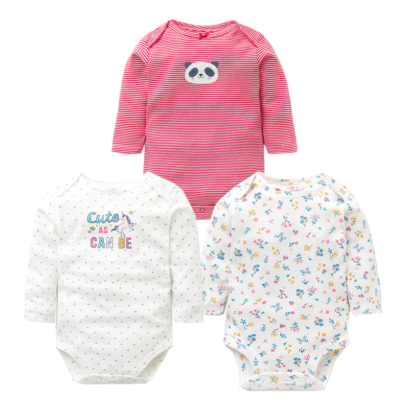 3PCS LOT Baby Bodysuits Autumn Top Quality Baby Girl Boy Clothes 100 Cotton Long Sleeve Underwear