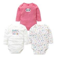 3 шт./лот/, Детские боди, осенняя одежда наивысшего качества для маленьких девочек и мальчиков, комбинезон для новорожденных хлопок, нижнее белье с длинными рукавами, 100%, 0-24 м