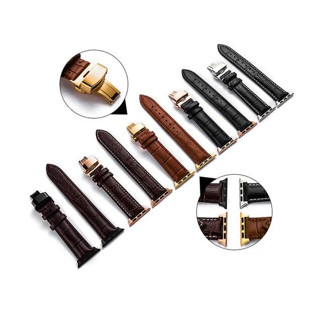 עור רצועת עבור אפל שעון 5 4 להקת 44mm 40mm פרפר אבזם iwatch 3 2 רצועת 42mm 38mm אפל שעון להקות צמיד