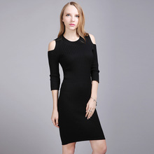 HMCHIME 2017 Autumn winter women knitted dress fashion sexy high elastic half sleeve off shoulder package