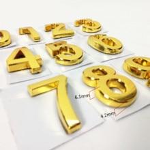 35mm ABS Plastic Golden Color House Door Number Self- Adhesive 0-9 Door Numbers Customized Hotel Address Sign Door plate