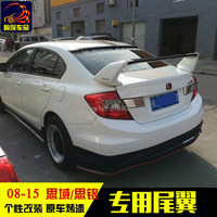 For Honda Civic Spoiler FD2 2012 2015 ABS Plastic Unpainted Color Rear Roof Spoiler Wing Trunk Lip Boot Cover Car Styling
