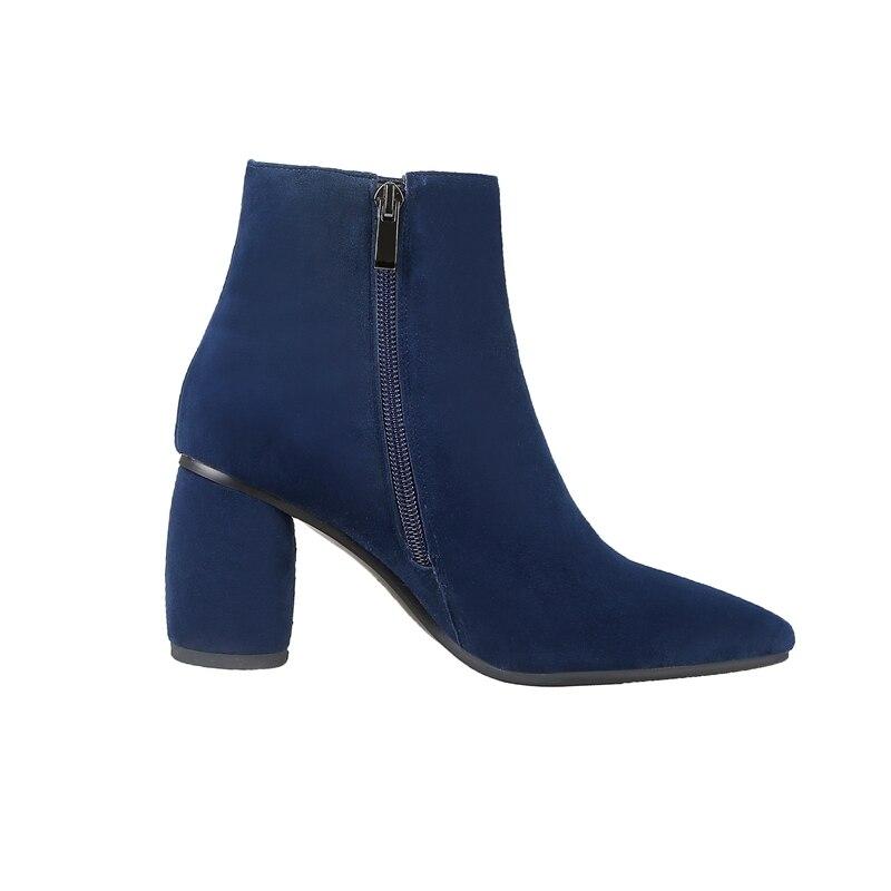 Punta Invierno 40 Delgados Botas Tamaño Tacones Negro Enmayer Causal Pajarita Blue Del Pie Bolso Mujer Cr1927 Med Rebaño Zapatos Tobillo Dedo De 34 xwRqX0qn6