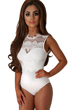 Summer Women Bodycon Rompers Sheath Solid fashion Sexy Jumpsuit Playsuit Shorts White Lace High Neck Cut Out Back Bodysuit 32050