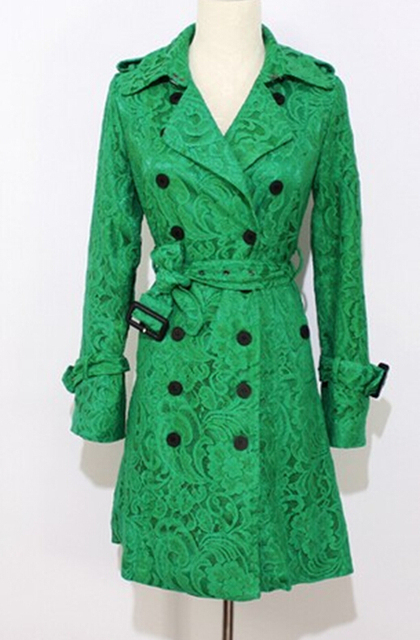 Free Shipping High Quality Western Style2013 Autumn New Arrival Fashion Double Breasted Lace Long Trench Coat