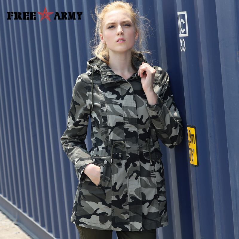 FREEARMY Hooded Camouflage   Trench   Coat Women Wide-waisted Pockets Drawstring Belt Casual Plus Size Woman   Trench   Coats Female