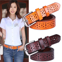 Real 100 Cowskin Leather Vintage Designer Belt Women Brands Belt Brass Pin Buckle 2015 New Women