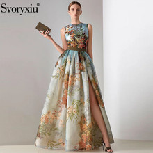 Svoryxiu Elegant Runway Summer Party Maxi Dresses Women's Vintage Flower Print Split Sleeveless Long Dress Vestidos sleeveless flower print vintage dress