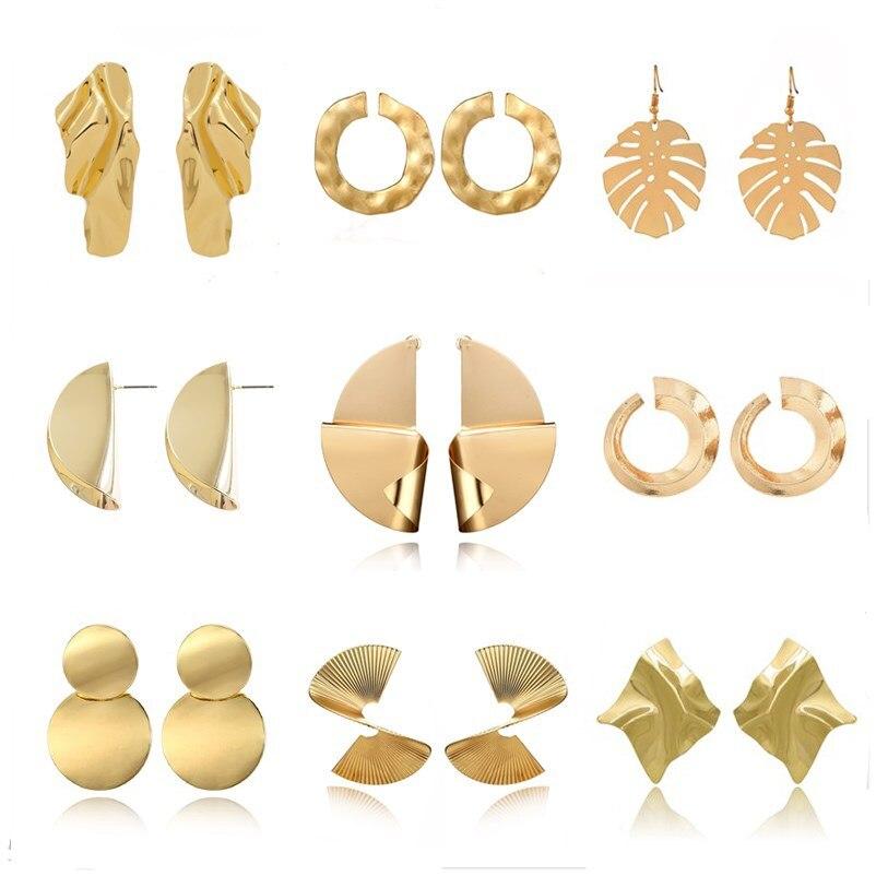 Fashion Statement Drop Earrings For Women Big Geometric Round Metal Earring Brincos Oorbellen Voor Vrouwen Bohemian Accessories
