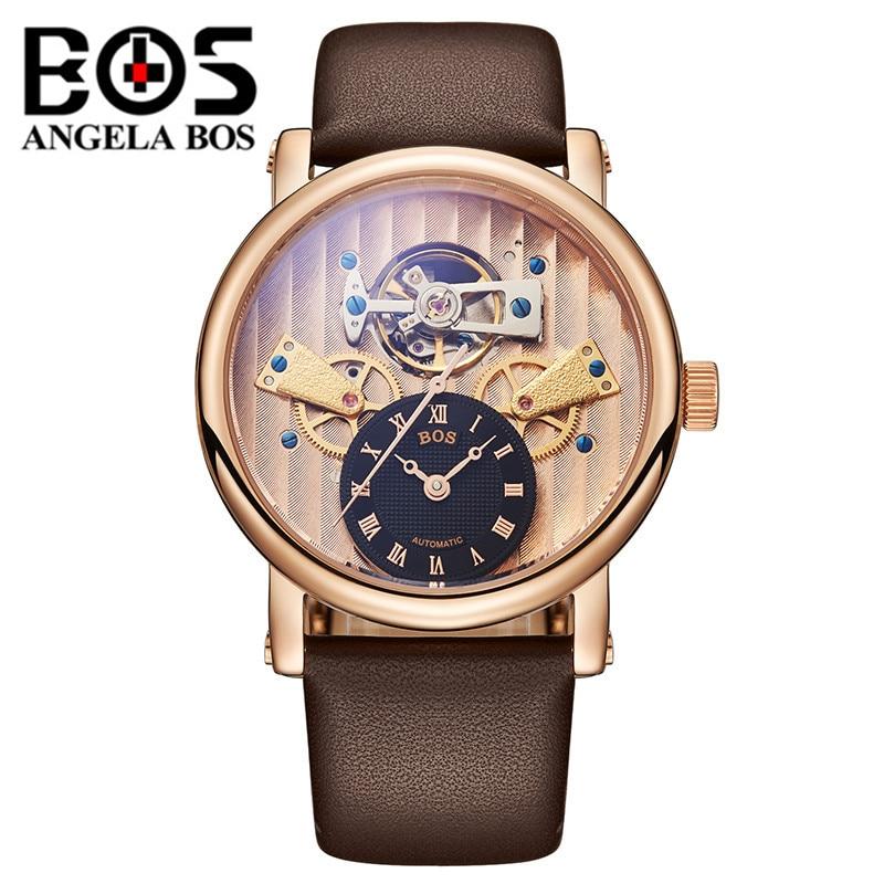 Reloj Hombre ANGELA BOS Luxury Brand Gold Automatic Watch Mens Waterproof Sapphire Dress Mechanical Wrist Watches